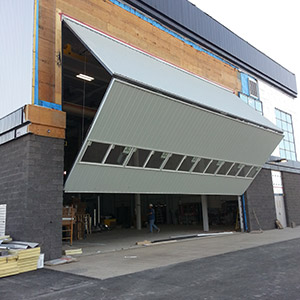 steel building school bi fold door